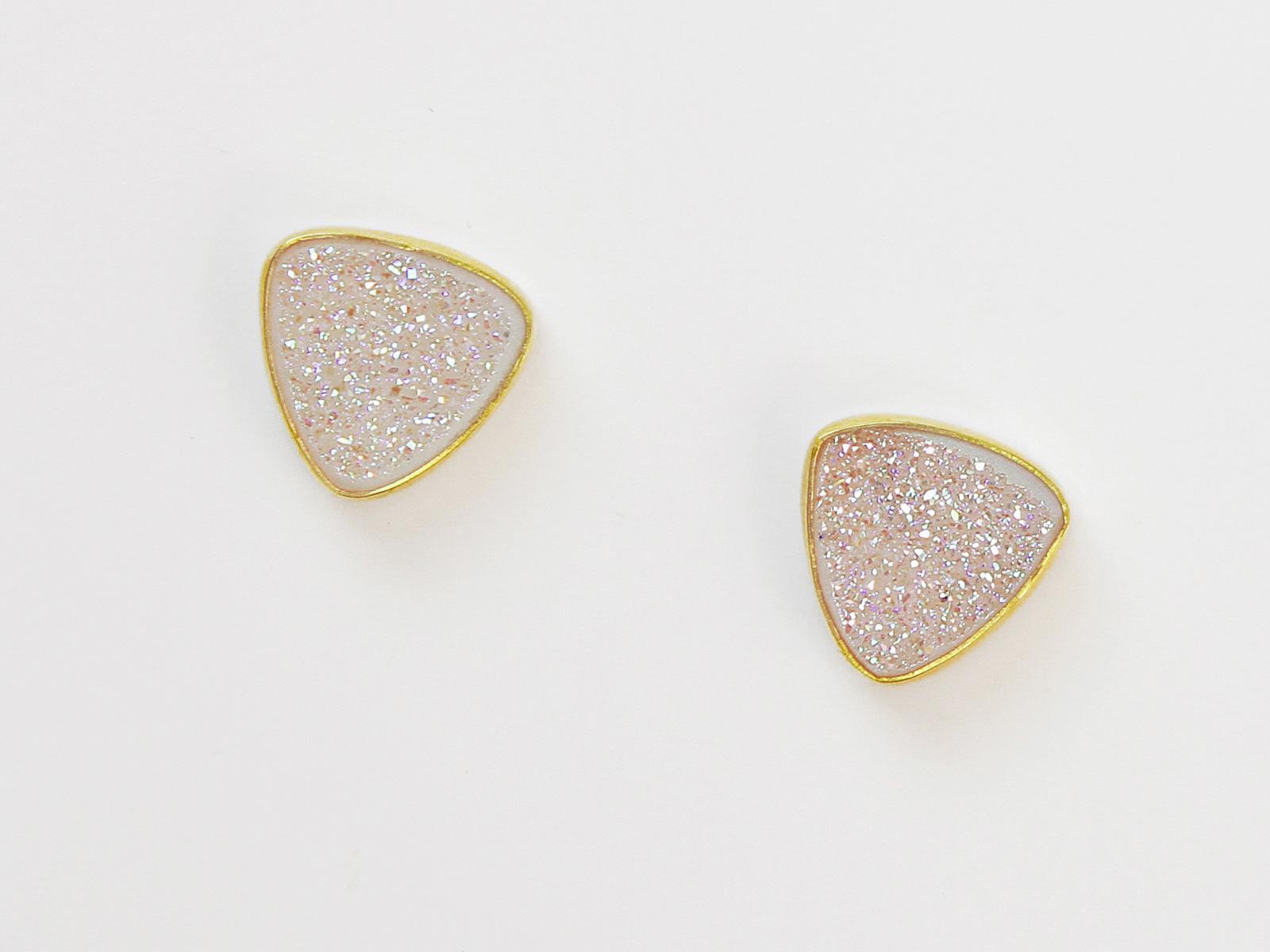 White Drusy Post Earrings