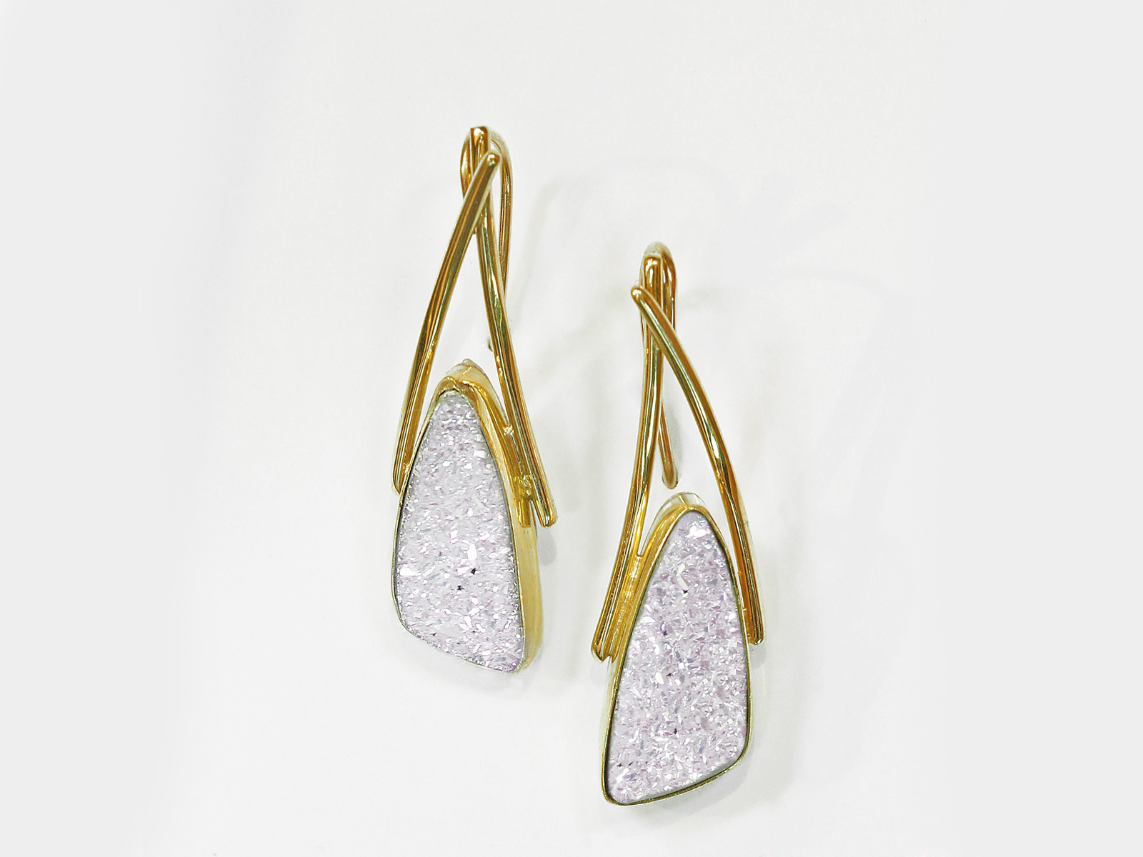 White Drusy Earrings