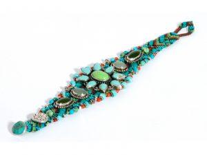 Macrame Flower Turquoise Bracelet