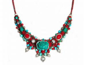 Carved Rose Macrame Necklace