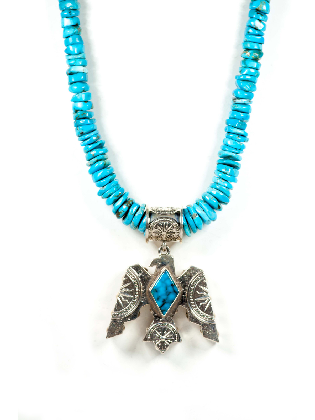 Sterling Silver Kingman Turquoise Thunderbird Necklace