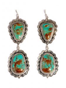 Turquoise & Sterling Silver Double Dangle Earrings on a Wire
