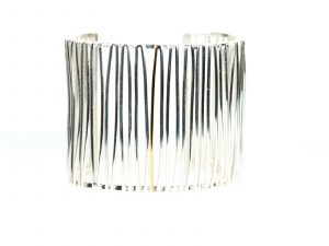 Flax Cuff Bracelet in Sterling Silver with 18k Gold Strand