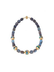 Labradorite & Ethiopian Opal Necklace with 22k Gold