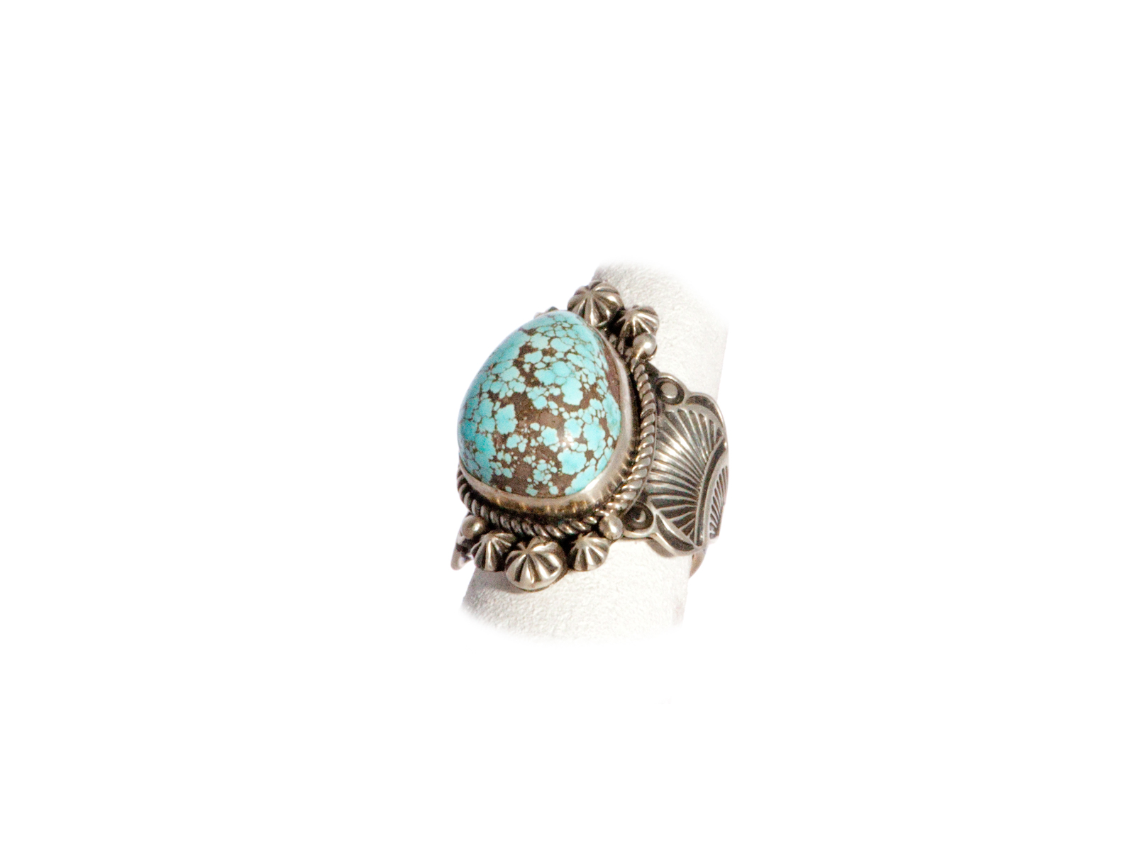 Number 8 Turquoise Stone in Sterling Silver Vintage Ring