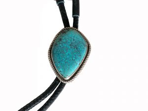 Bolo Tie with Large Spiderweb Turquoise Stone