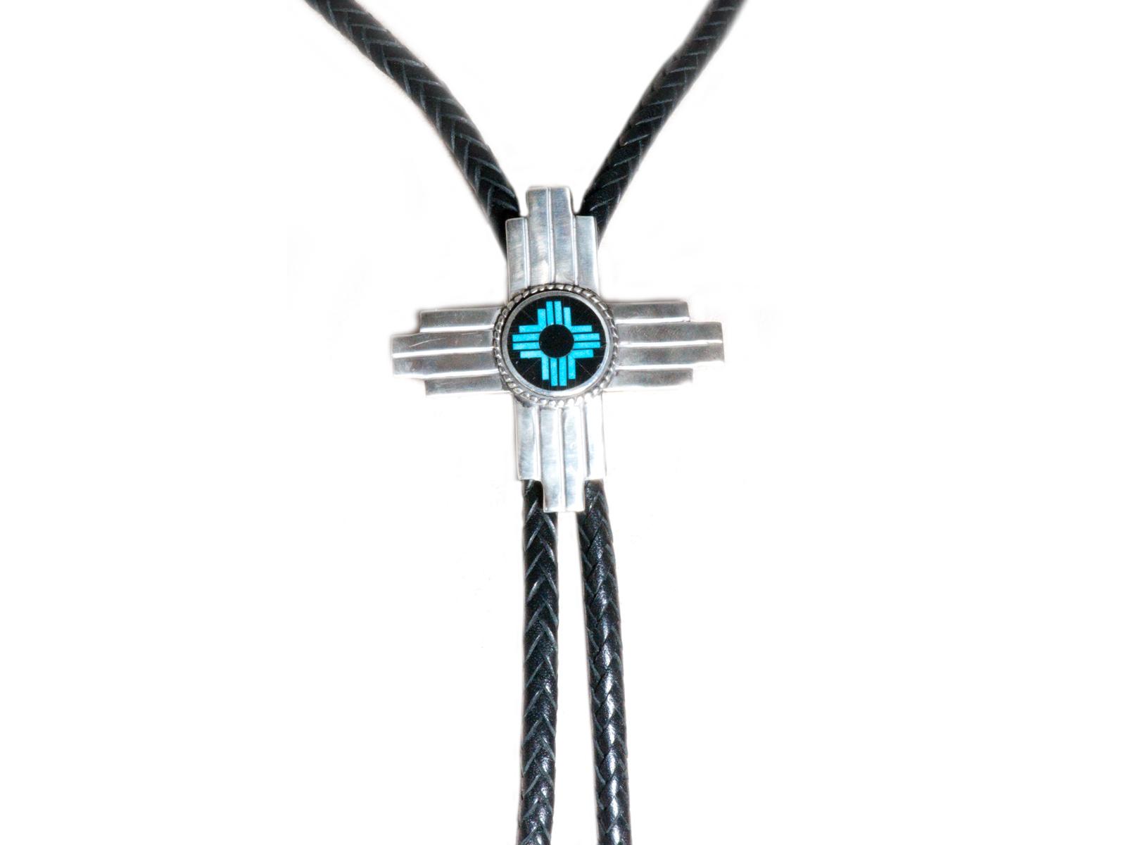 Silver Zia Inlay Bolo Tie