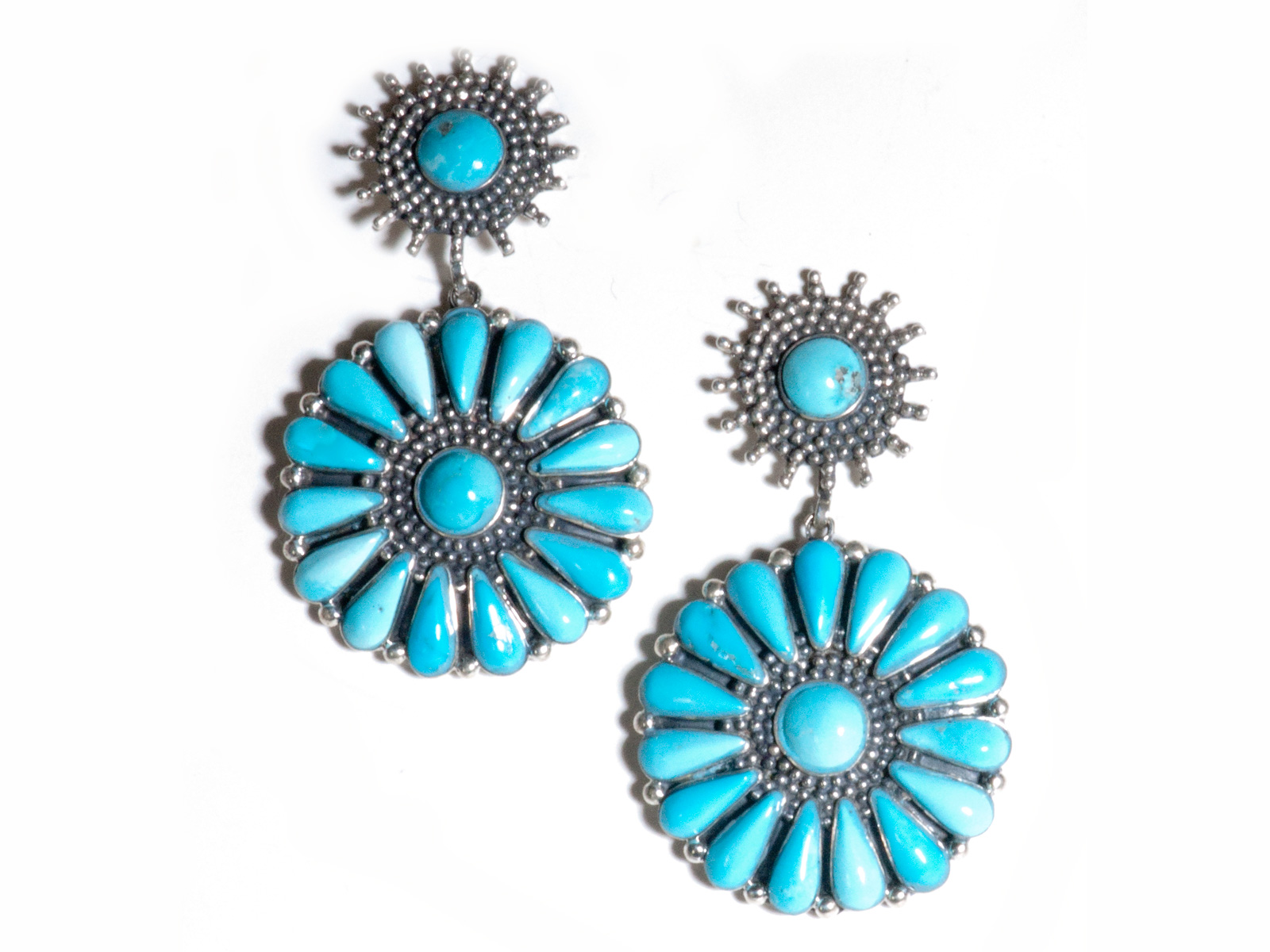 Sun Burst Turquoise Dangle Earrings