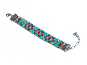 Turquoise Red Rug Pattern Beaded Bracelet