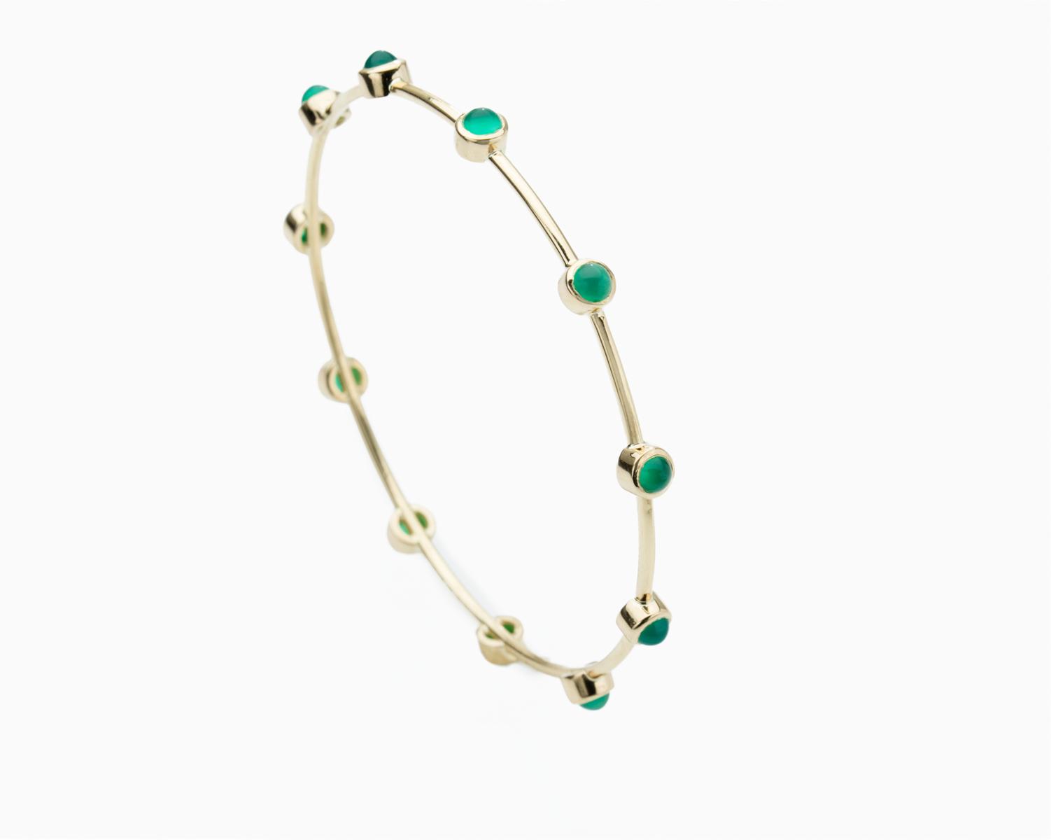 18k Gold Chalcedony Bangle Bracelet