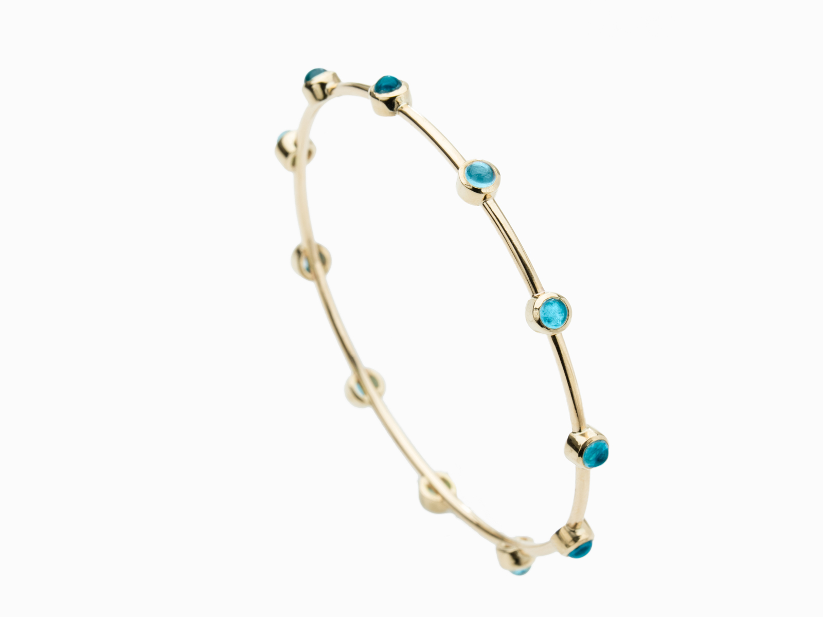 18k Gold Blue Topaz Bangle Bracelet
