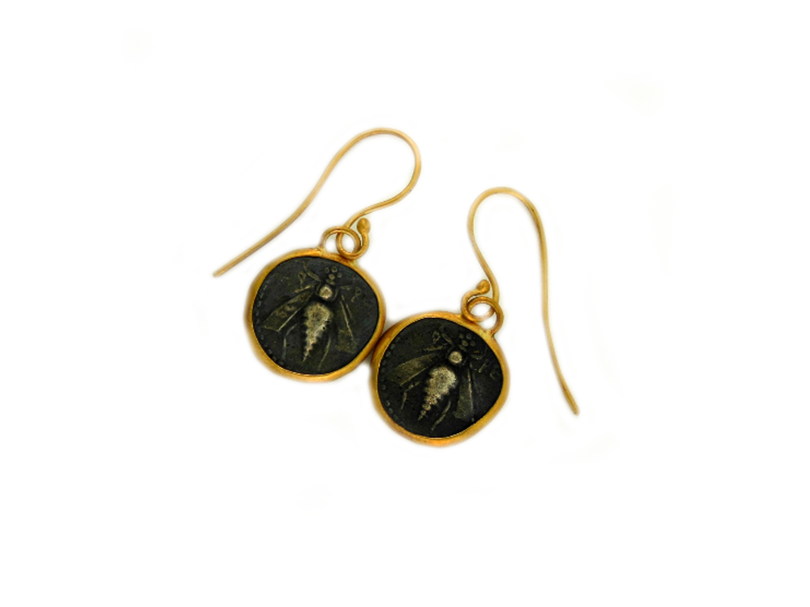 Gold Bee Coin Dangle Earrings