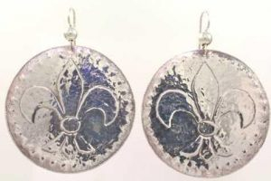 Silver Fluer De Lis Dangle Earrings