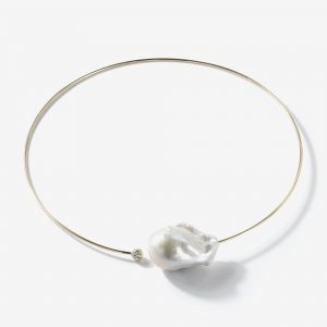 Large Baroque Pearl diamond Necklace