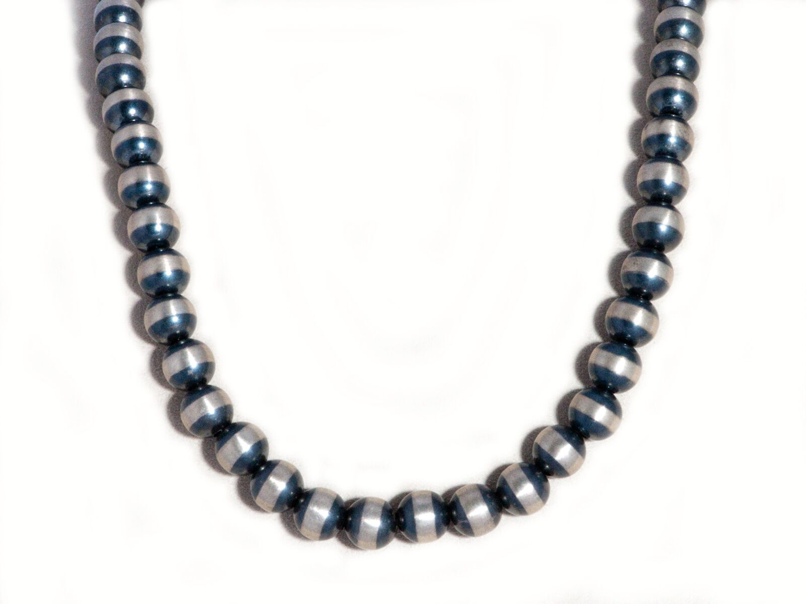 "10mm Oxidized Sterling Silver Beaded 24"" Necklace"
