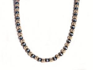 """7mm Oxidized Sterling Silver Gold Filled Beaded 18"""" Necklace"""