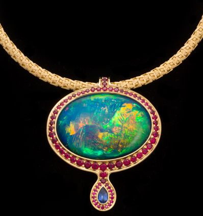Australian opal pendant surrounded in rubies with sapphire drop aloadofball Image collections