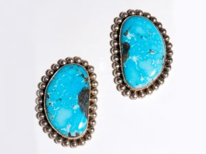 Large Morenci Turquoise Post Earrings