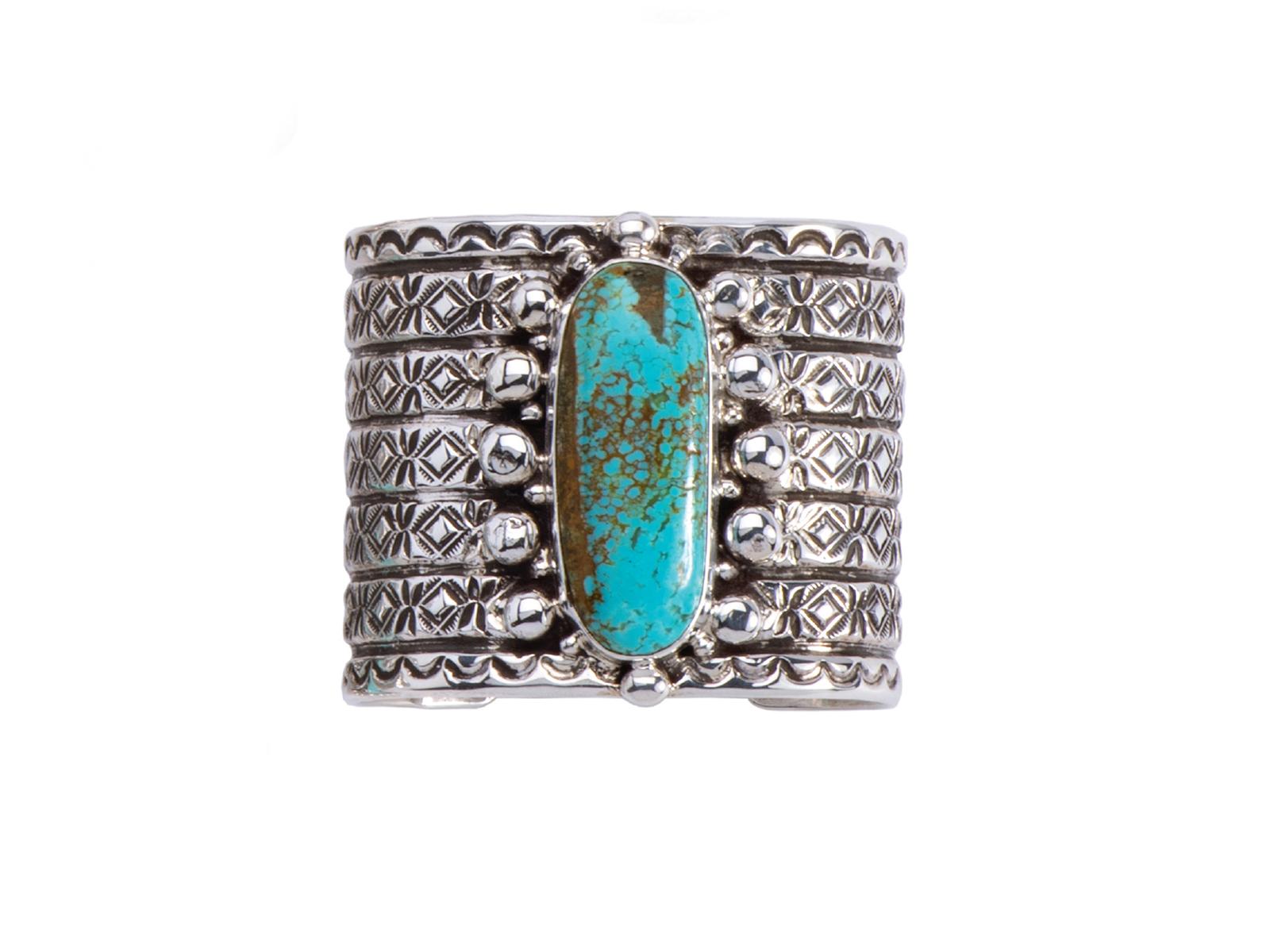 Silver Oval Kingman Turquoise Wide Cuff