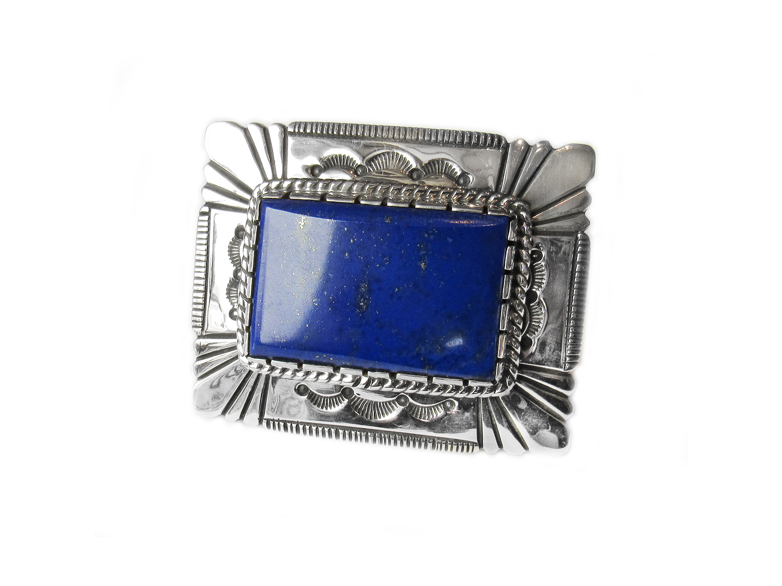 Silver Belt Buckle with Lapis Stone