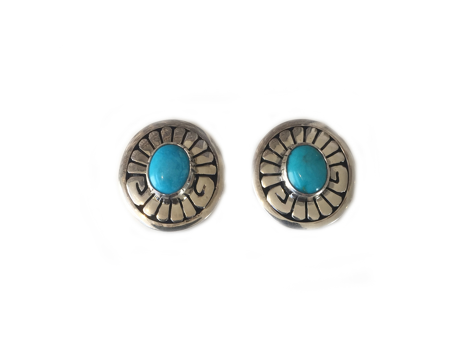 Kingman Turquoise Stamped Earrings