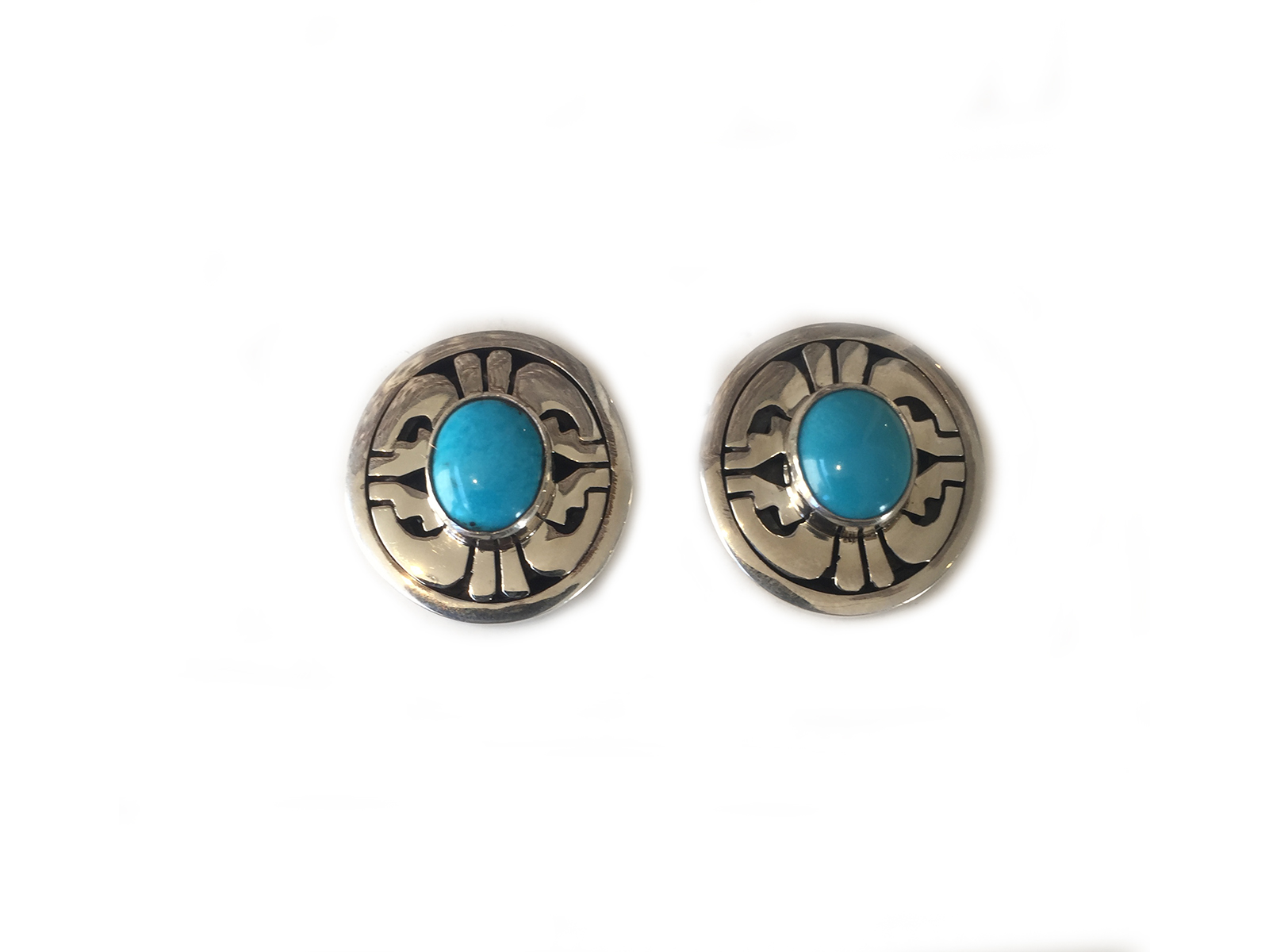 Silver Stamped Kingman Turquoise Earrings