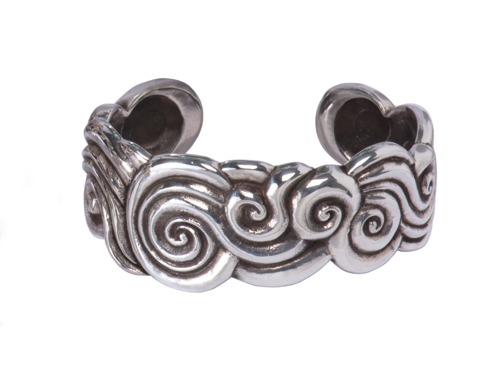 small silver spiral cuff bracelet