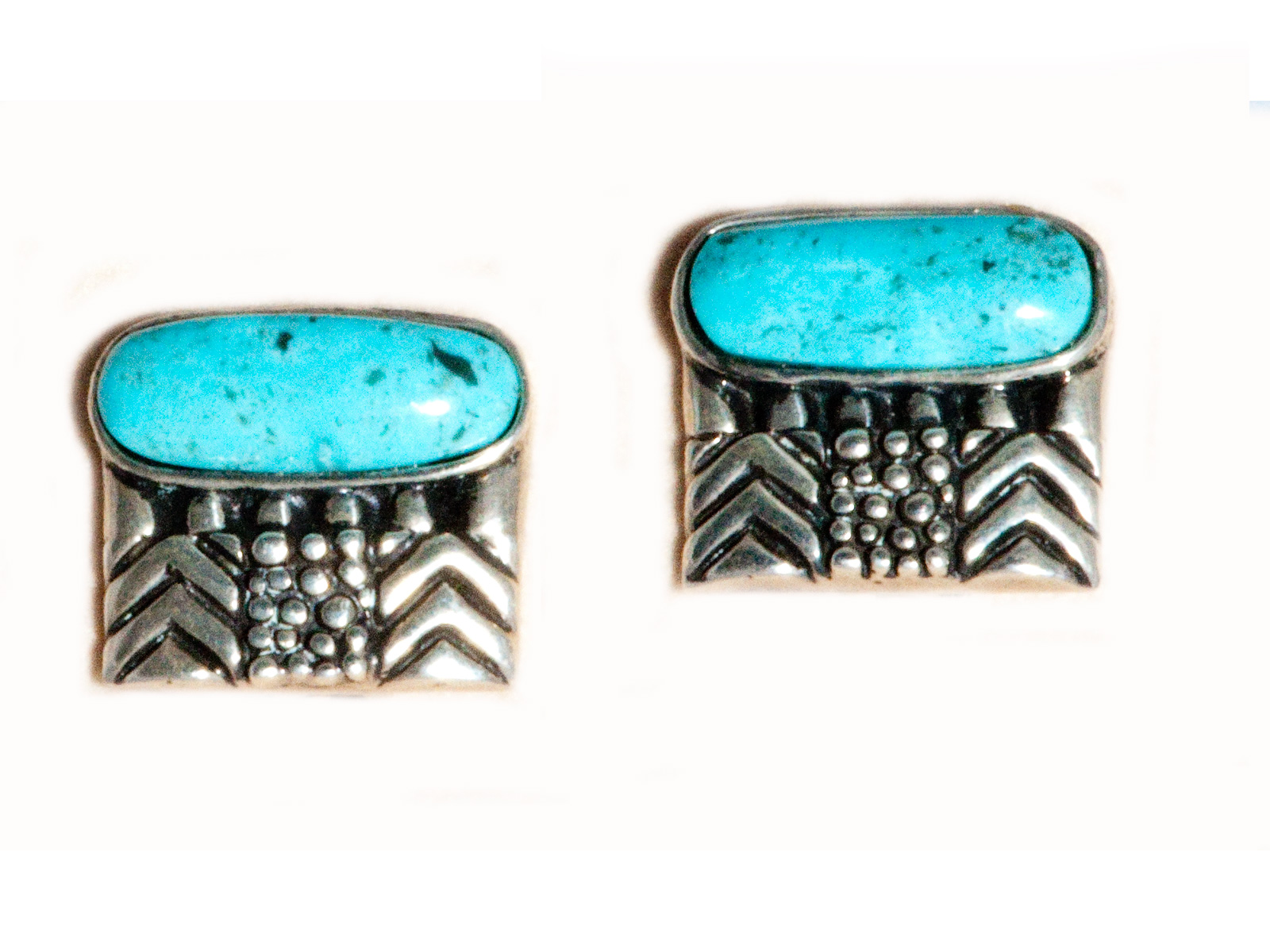 Square Oval Kingman Turquoise Clip Earrings